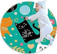 Green Black Kitten, Kids Round Rug Polyester Throw