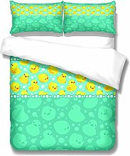 Green, Blue And Yellow Duvet Cover 3-Piece Set