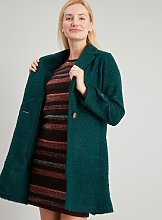 Green Bouclé Crombie Coat - 12