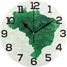 Green Brazil Map Wall Clock Silent Non Ticking