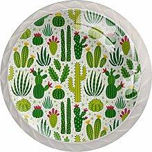 Green Cactus Cartoon 4 Pieces Crystal Glass