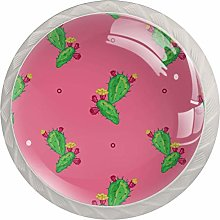 Green Cactus Flower Pink 4 Pieces Crystal Glass
