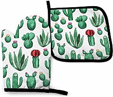 Green Cactus Quatrefoil Geometric Oven Mitts and