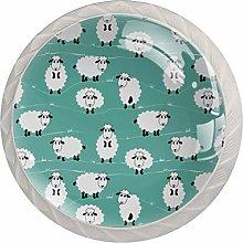 Green Cartoon Sheep White Crystal Drawer Handles