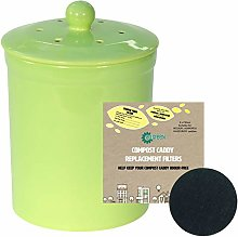 Green Ceramic Compost Caddy & 2 Filters - Melbury