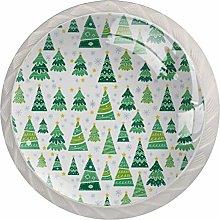 Green Christmas Tree 4 Pieces Crystal Glass