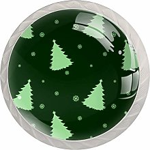 Green Christmas Trees 4 Pieces Crystal Glass