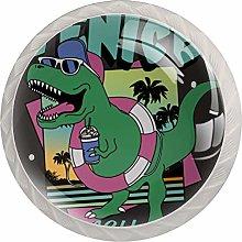 Green Dinosaur Beach White Crystal Drawer Handles