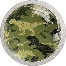 Green Dinosaur Seamless White Crystal Drawer