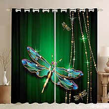 Green Dragonfly Window Drapes Colorful Shinny