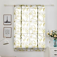 Green Floral Printed Window Curtains Transparent