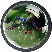 Green Frog Crystal Drawer Handles Furniture Glass