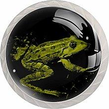 Green Frog White Crystal Drawer Handles Furniture