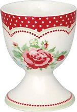 Green Gate - Small Red White Porcelain Mary Egg