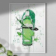 Green Gin Bottle - Wall Art Print - A3 Print Only