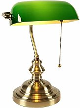 Green Glass Bankers Desk Lamp with Pull Chains