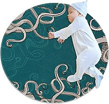 Green gray octopus, Kids Round Rug Polyester Throw