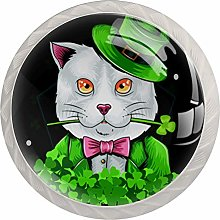 Green Hat Cat 4 Pieces Crystal Glass Wardrobe