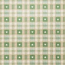 Green Heart Check PVC Vinyl Wipeclean Tablecloth