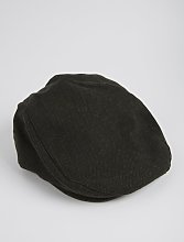 Green Herringbone Flat Cap With Wool - S/M