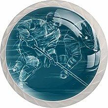Green Ice Hockey White Crystal Drawer Handles