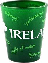 Green Irish Shot Glass with Graffiti Design of