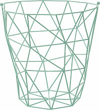 Green Iron Storage Basket With Wire Frame Laundry