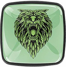 Green Killer Wolf Square Cabinet Knobs 4pcs Knobs