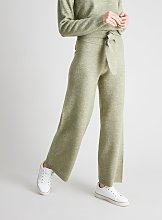 Green Knitted Wide Leg Coord Trousers With Wool -