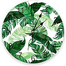 Green Leaf Watercolor Pattern Wall Clock Home