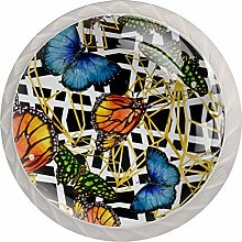 Green Leaves 4 Pack Glass Drawer Knobs- Round