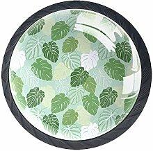 Green Leaves Crystal Drawer Handles Furniture