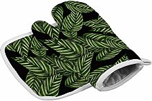 Green Leaves Heat Resistant Oven Gloves Insulation