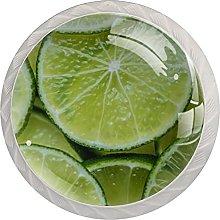 Green Lemon Slice Pattern 4PCS Round Shape Cabinet