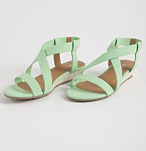 Green Matte Neon Wedge Sandals - 4