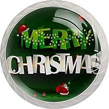 Green Merry Christmas 4 PCs Mushroom Cabinet Knobs