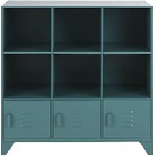 Green metal 3-door children's storage cabinet