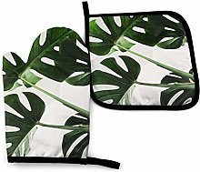 Green Monstera Leaf Heat Resistant Oven Gloves And