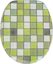 Green Mosaic Soft Close Elongated Toilet Seat
