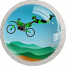 Green Motorcycle White Crystal Drawer Handles