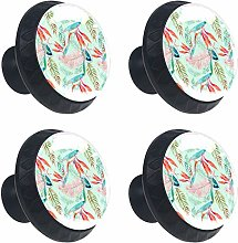 Green Orange Tropical Watercolor Leaves 4PCS Round