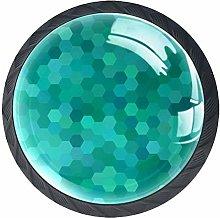 Green Pattern 4 Pack Round Drawer Knobs Crystal