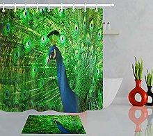 Green Peacock Bathroom Decor 100% Polyester Shower