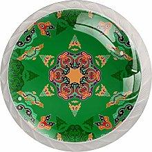 Green Pink Mandala 4pcs Glass Cupboard Wardrobe