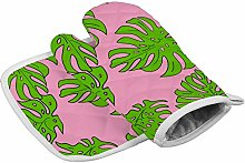 Green Plant Leaves Heat Resistant Oven Gloves