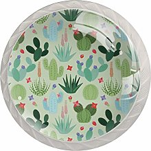 Green Plant Prickly Pear 4 Pieces Crystal Glass