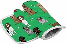 Green Puppy Corgi Heat Resistant Oven Gloves
