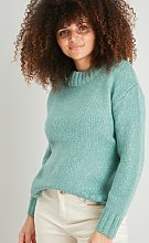 Green Ribbed Neck Jumper - S