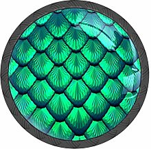 Green Scales Mermaid Knobs and Pull Handle for