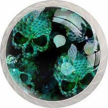 Green Skull White Drawer Handles Furniture Glass